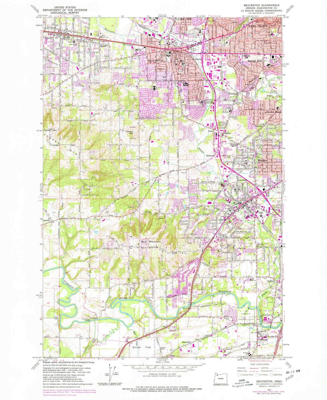 Amazon Com Yellowmaps Beaverton Or Topo Map 1 24000 Scale 7 5 X