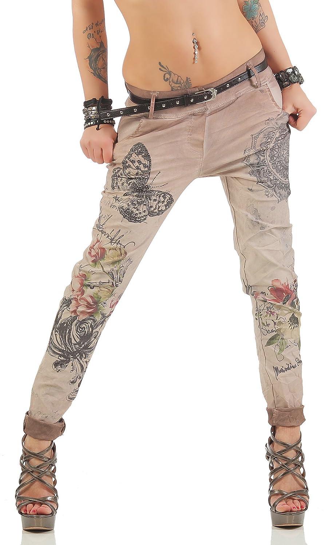 Zarmexx Pantalones de Las Mujeres con los Pantalones Vaqueros Holgados Novio cinturón de los Pantalones de Jeggings Chinos impresión de la Mariposa