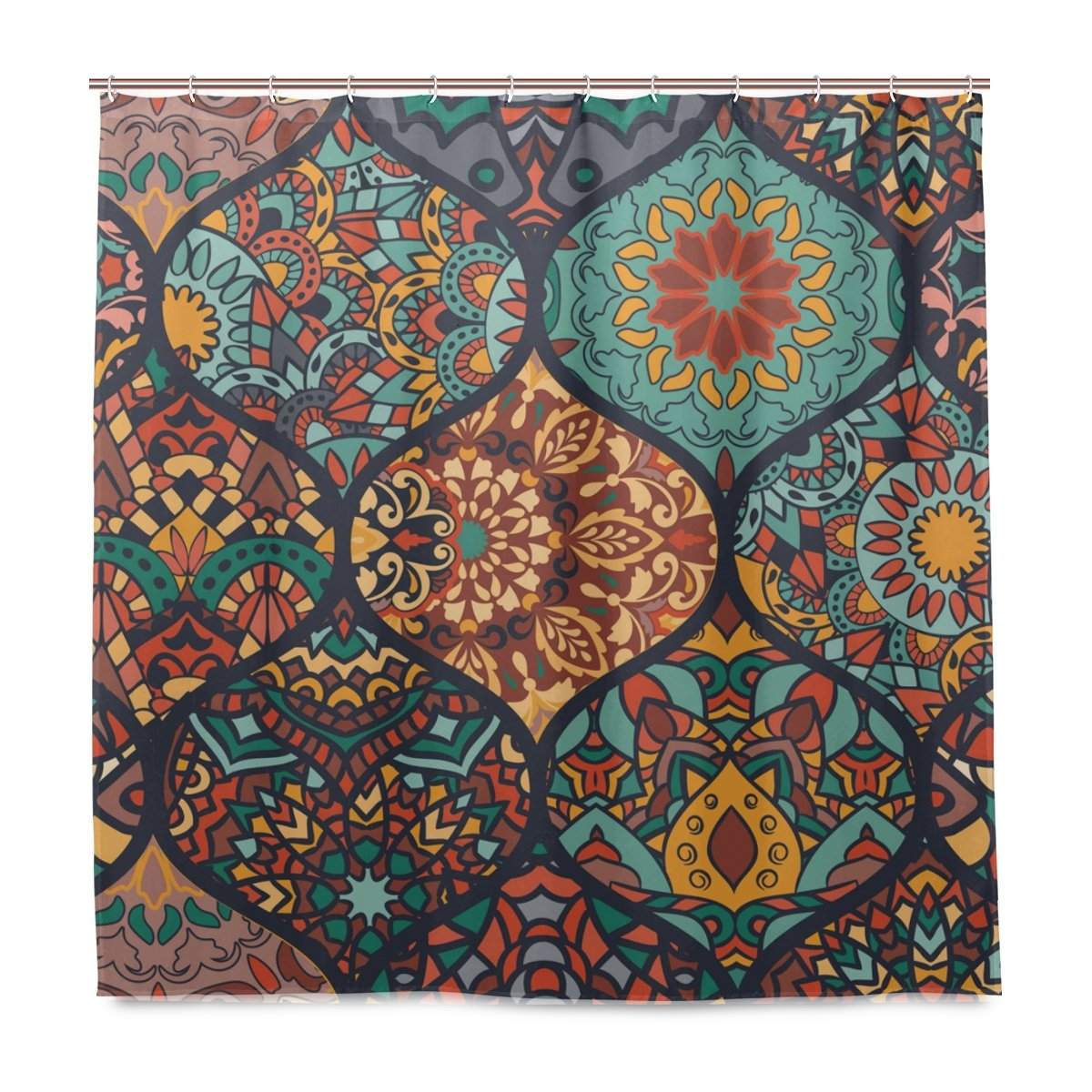 Mnsruu Shower Curtains With Hooks Colorful Moroccan Style Pattern Printed Bathroom Decor Polyester Fabric Mildew Resistant Waterproof, 72x72 Inches
