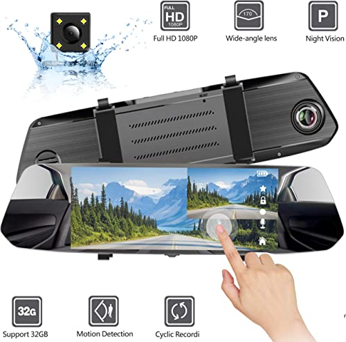 AVISIGHT Backup Camera 7 Mirror Dash Camera Touch Screen 1080P Rearview Dual Lens with Waterproof Rear Camera