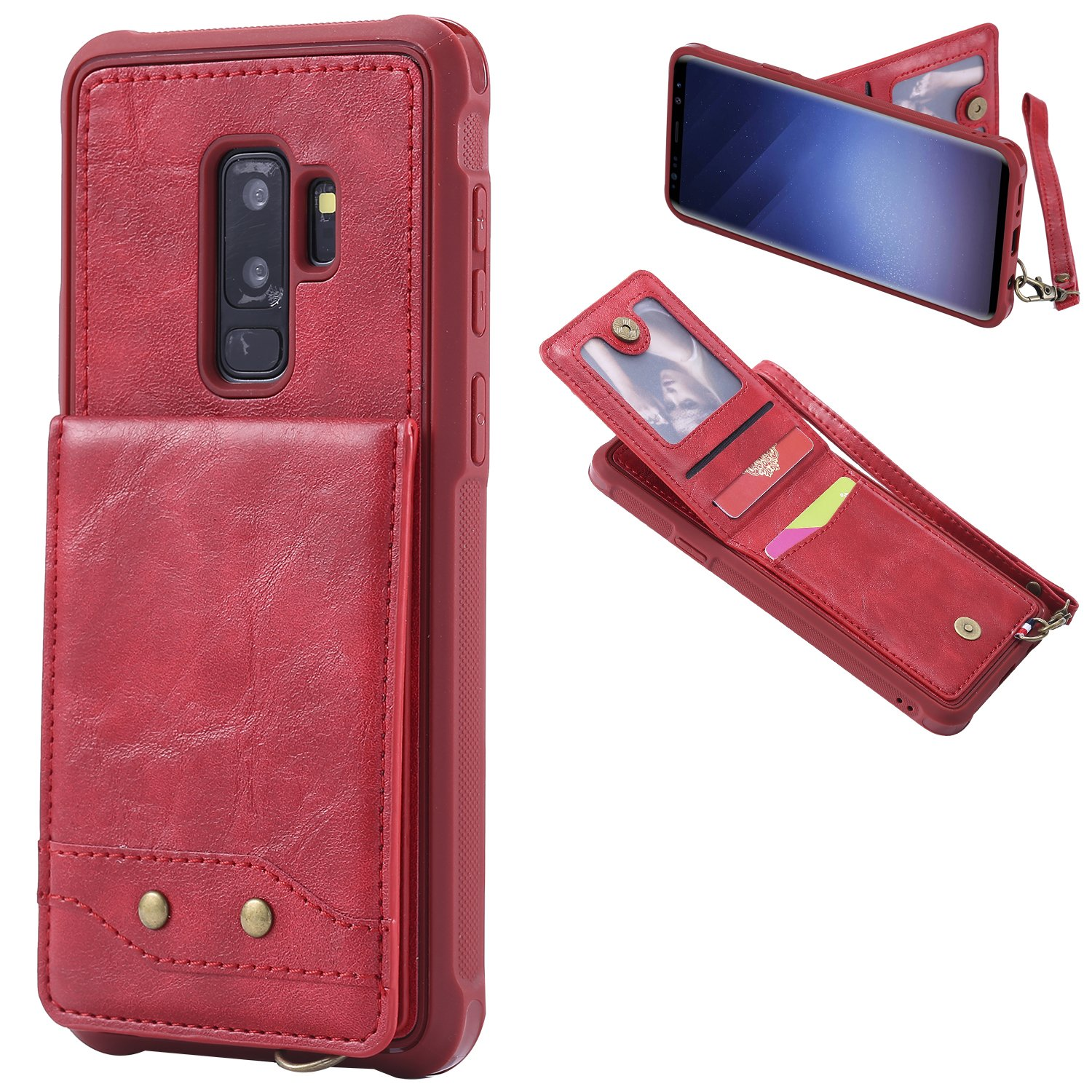 DAMONDY S9 Plus Case, Luxury Wallet Purse Card Holders Design Cover Soft Shockproof Bumper Flip Leather Kickstand Magnetic Clasp With Wrist Strap Case for Samsung Galaxy S9 Plus 2018-red
