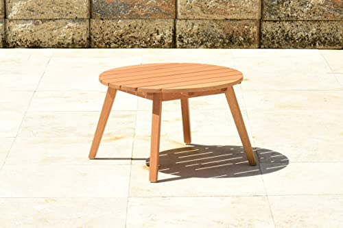 Brampton Akron Outdoor Side Table Durable Eucalyptus with Teak Finish Perfect for Patio and Indoors, Light brown