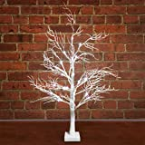 4ft Shabby Chic White Glittering Silver Leaf 72 LED Free Standing Flat Twig Tree