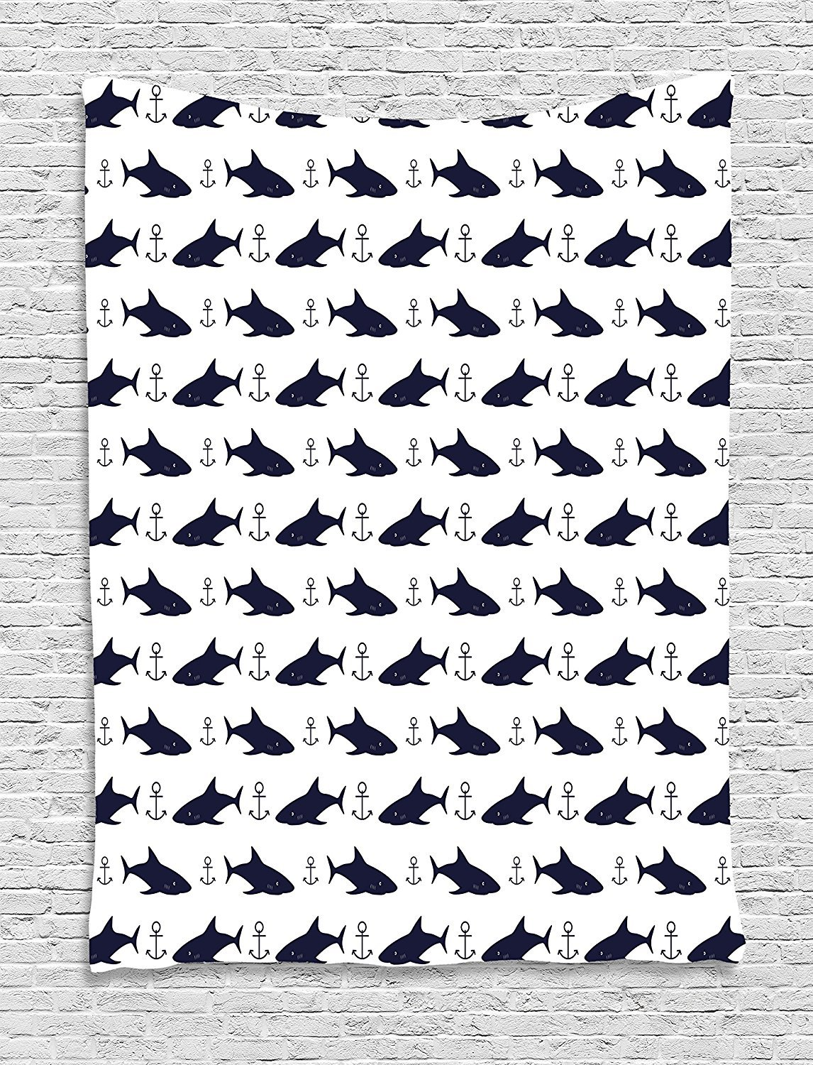 qinghexianpan Anchor Tapestry, Aquatic Pattern with Sharks and Anchors Contemporary Classical Modern Fish Animal, Wall Hanging for Bedroom Living Room Dorm, 60 W X 80 L Inches, Indigo White