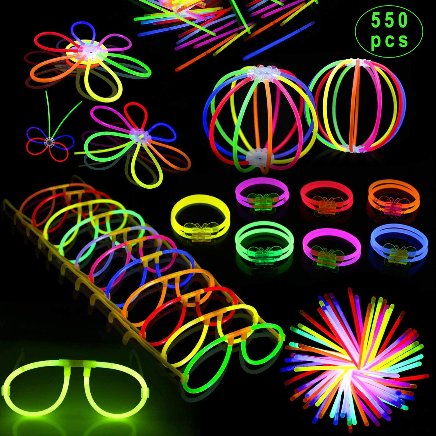 Inifty Glow Sticks Bulk Party Favors 300 Pack 8 in The Dark Party Supplies Light Sticks Glow Necklaces Bracelets Kids 300 Pack