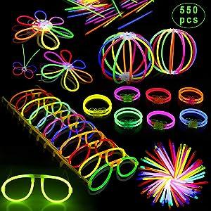 "Inifty Glow Sticks Bulk 8"" Glowsticks (Total 550 PCs 8 Colors) Light up Toys Glow Sticks Glasses Bracelet Necklace Light-Up Mixed Colors Party Favors Supplies (550 PCS)"