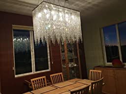 10 Light Modern Contemporary Dining Room Chandelier Rectangular
