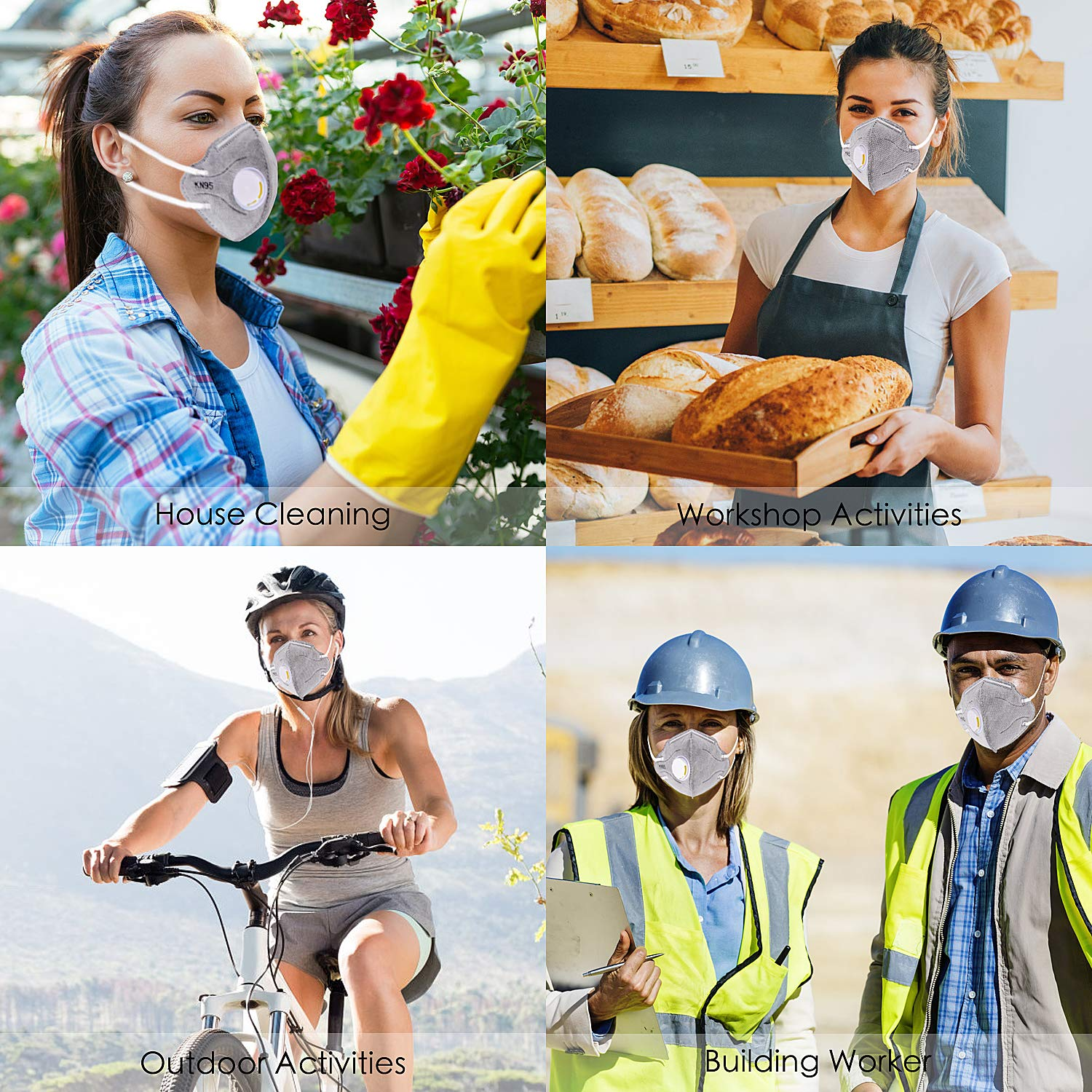 Dust Masks Disposable Anti Pollution Mask, N95 Particulate Respirator, safety mask with Exhalation Valve 5 Layer Activated Carbon Air Filter,Anti-Dust, Smoke, Gas, Allergies, Germs and Flu (20 Pack) by HiYuToy (Image #7)