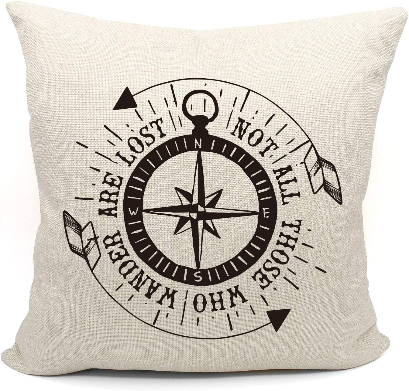 Not All Those Who Wander are Lost Throw Pillow Case, Gift to Vintage camper, Campers Gifts, Camper Decor, 18 x 18 Inch Nautical Compass Style Decorative Cotton Linen Cushion Cover for Sofa Couch Bed
