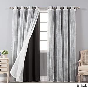Aurora Home Mix & Match Blackout and Dot Sheer 4 Piece Curtain Panel Set - 52x84 Black 84 Inches