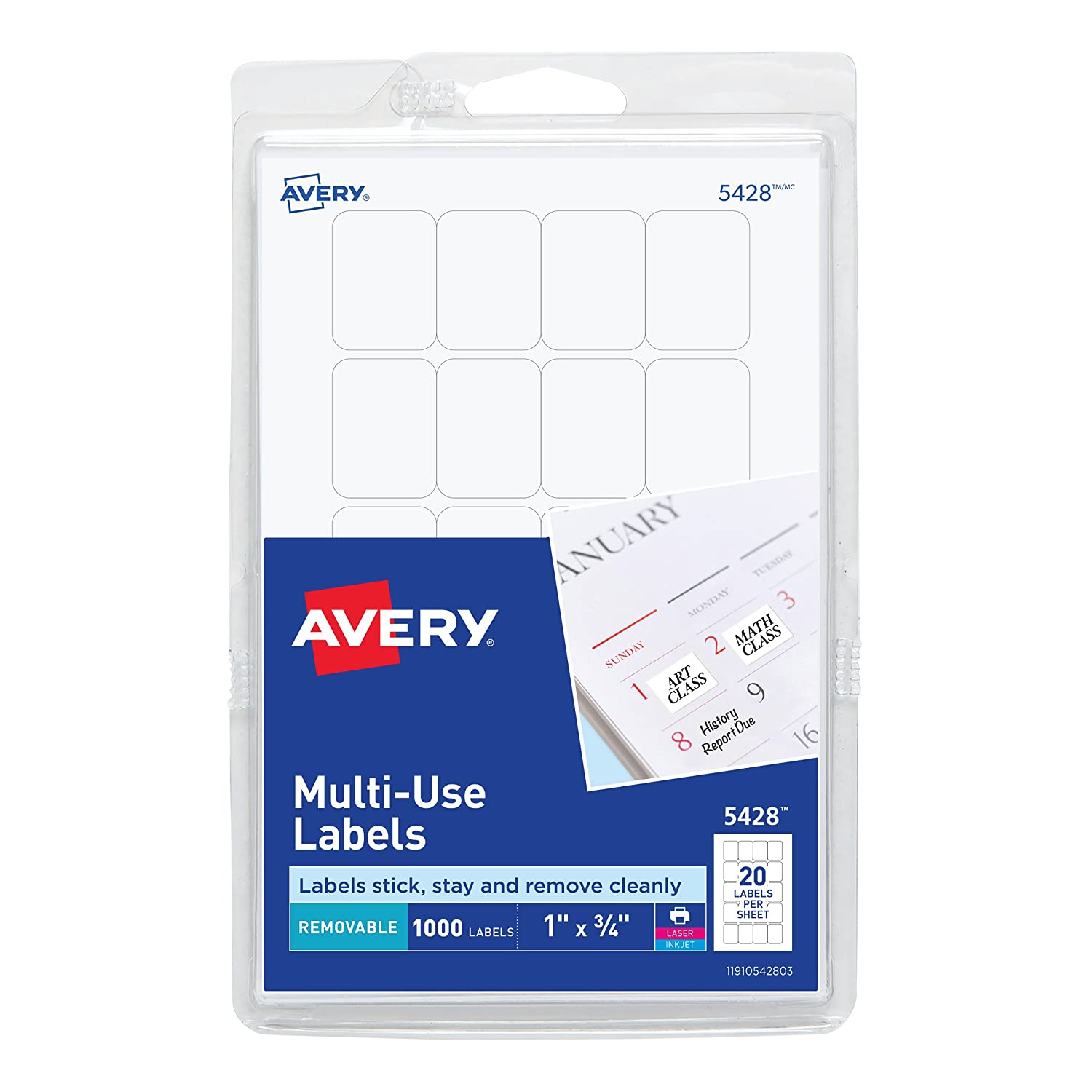 amazon com avery self adhesive removable labels 0 75 x 1 inches
