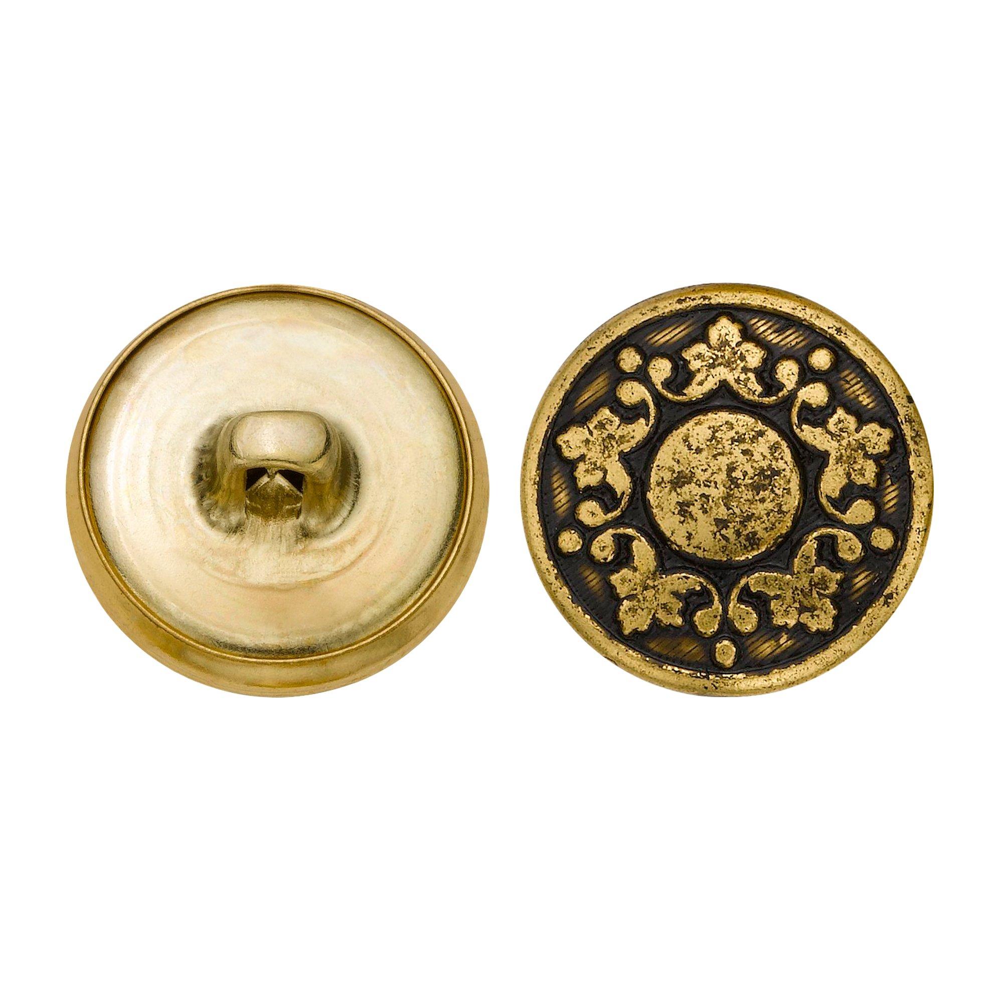 C&C Metal Products 5339 Abstract Grape Vine Metal Button, Size 30 Ligne, Antique Gold, 36-Pack