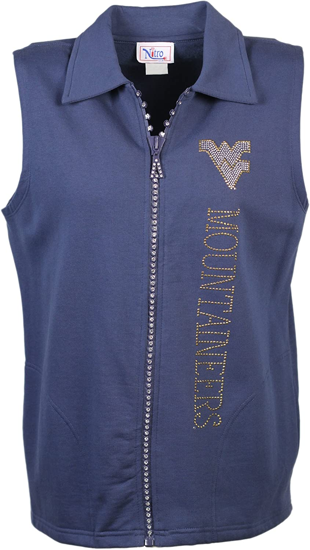 Nitro USA NCAA Womens Crystal Zipper Vest with Rhinestone and Metallic WV /& Mountaineers