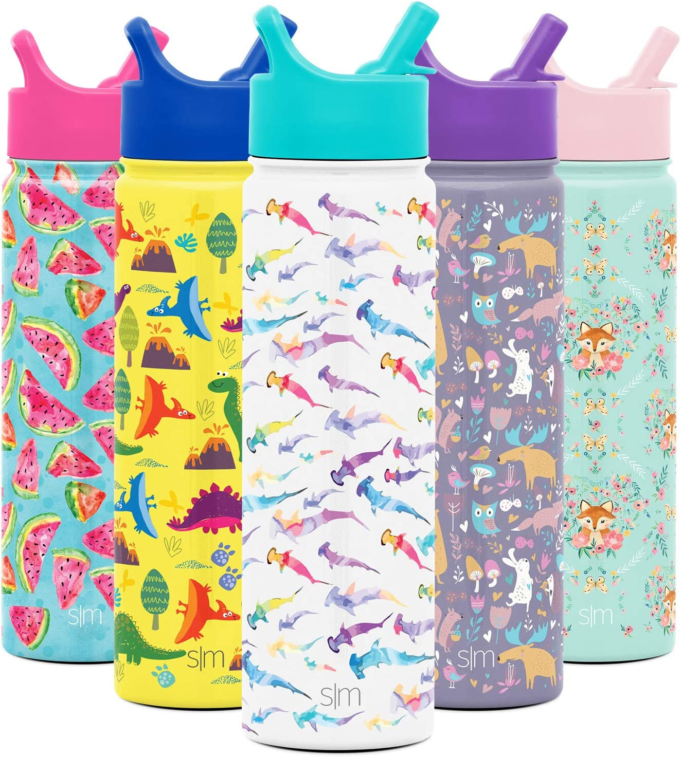 Simple Modern 22oz Summit Kids Water Bottle Thermos with Straw Lid - Dishwasher Safe Vacuum Insulated Double Wall Tumbler Travel Cup 18/8 Stainless Steel Watercolor Sharks