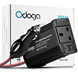 Odoga 300W Car Power Inverter DC 12V to 220V AC Converter With Dual USB 4.8A Charging Ports ~ Charge Your Laptop, iPad, iPhone, Tablet, Consoles & More ~ Durable and Powerful - Black Aluminum Body