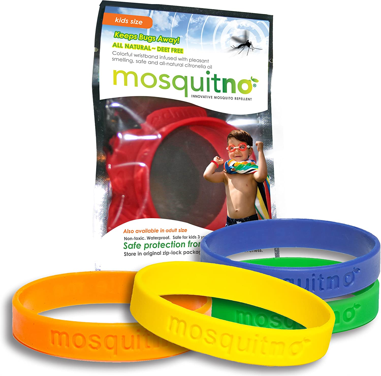 Mosquitno Natural, Citronella, Waterproof,Mosquito Repellent Wristbands, Kids, 5-Pack, Red/Orange/Green/Navy/Yellow