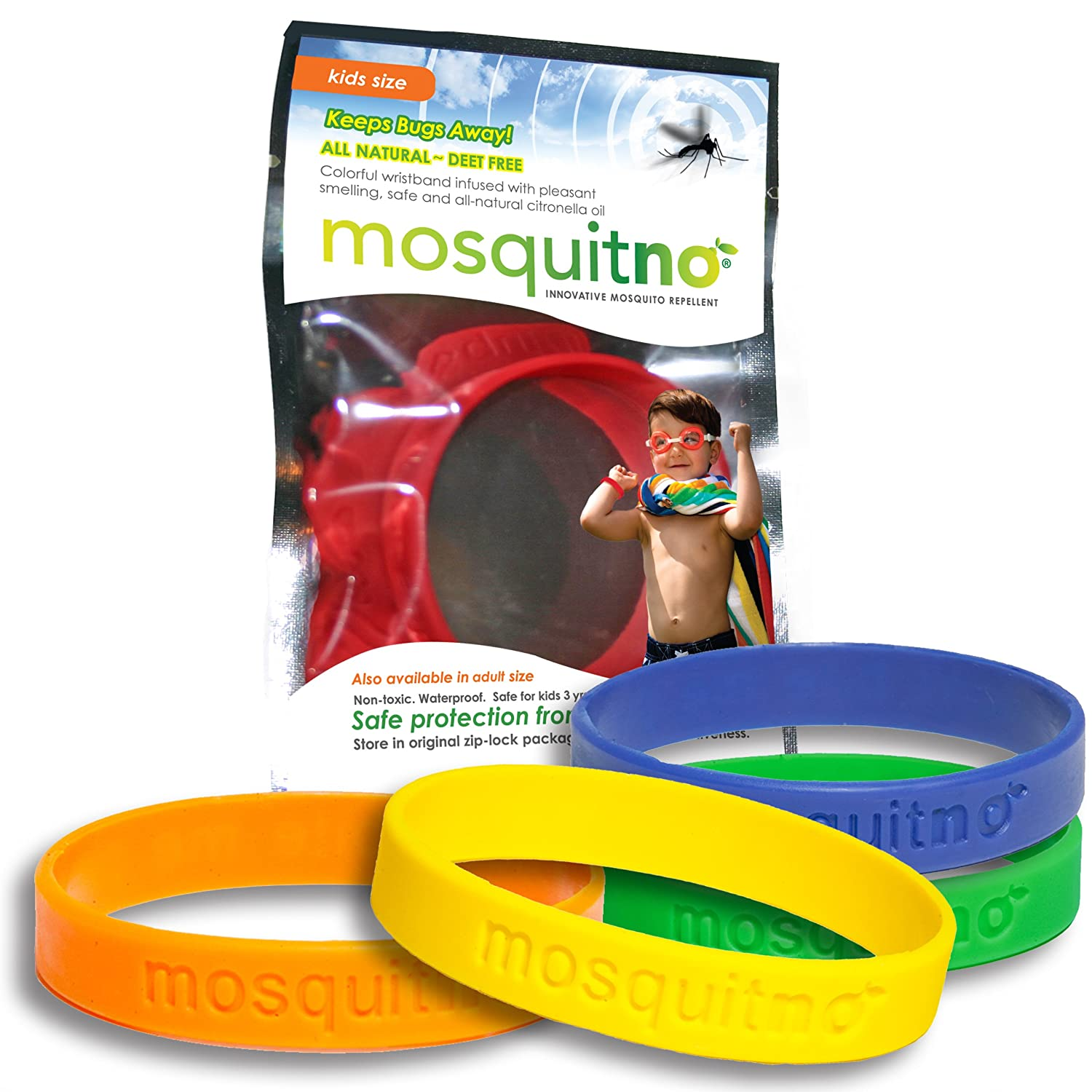 Mosquitno Natural Citronella Waterproof Mosquito Repeller Insect And Bug Electronic Kit Repellent Wristbands Kids 5 Pack Red Orange Green Navy Yellow Garden Outdoor