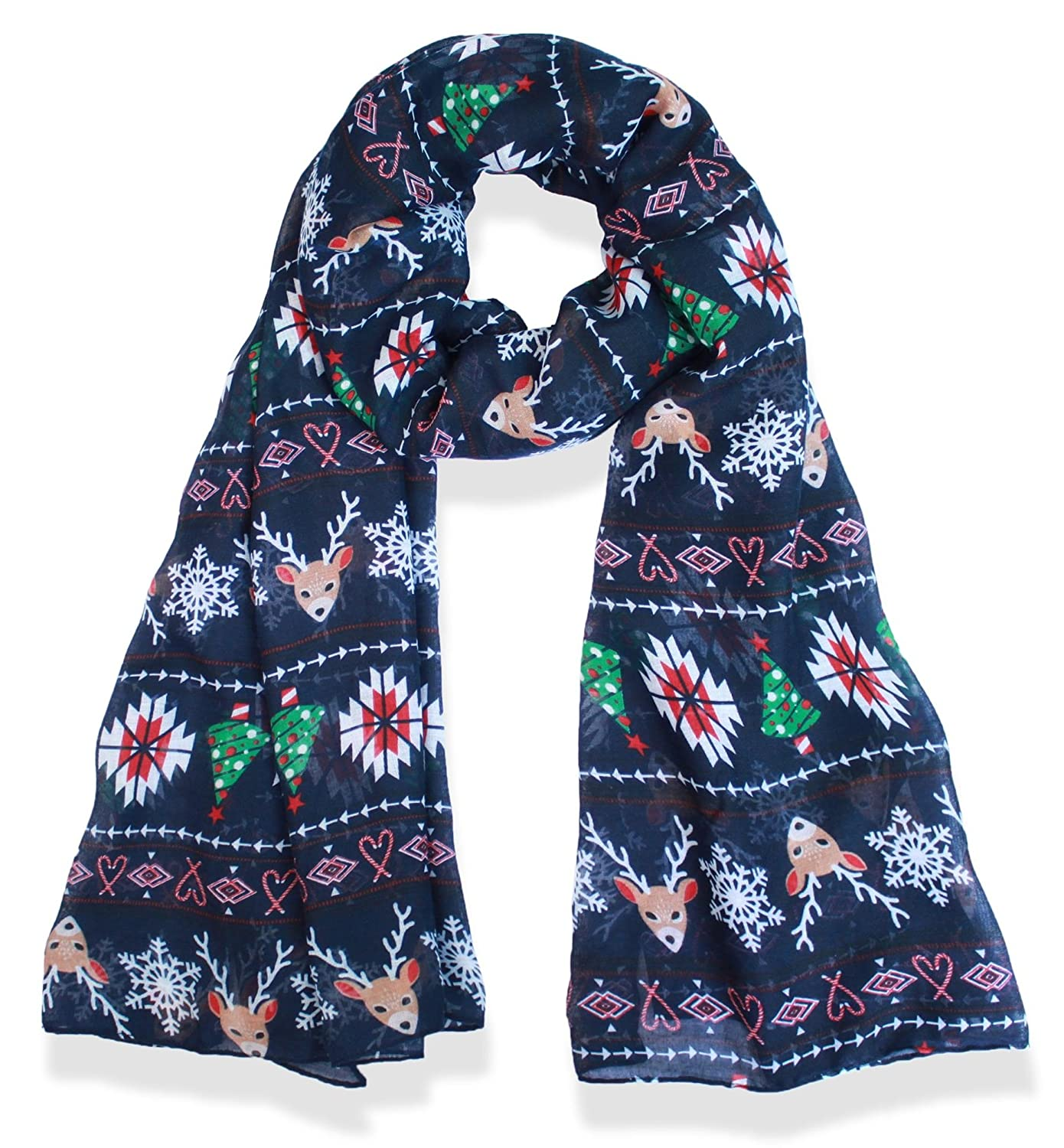 V28 Candy Cane Print Womens Scarf Christmas Gift Lightweight