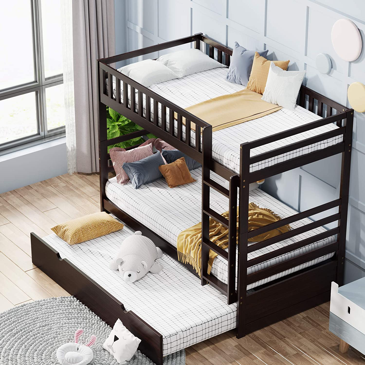 Amazon Com Merax Bunk Beds For Kids Twin Over Bunk Bed With Trundle Solid Wood Twin Trundle Beds With Ladder And Guardrails For Kids Espresso Furniture Decor