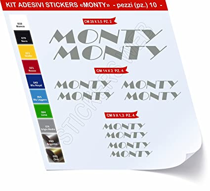 Kit de pegatinas para bicicleta Monty, 10 unidades, cód. 0446 ...