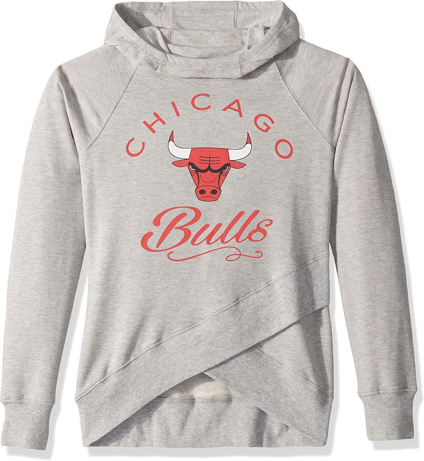 Youth Large Heather Grey 14 NBA by Outerstuff NBA Youth Girls Chicago Bulls The Bridge Long Sleeve Funnel Neck Hoodie