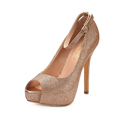 59f319a4d7e2 DREAM PAIRS Women s Swan-10 Champagne High Heel Plaform Dress Pump Shoes -  5.5 M