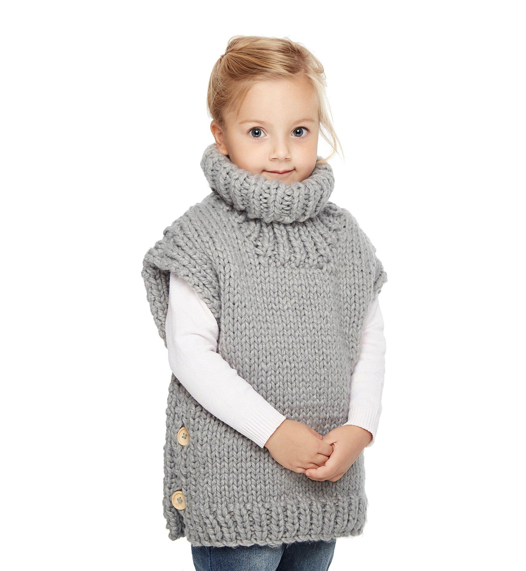 Sumolux Kids Girls Knit Turtleneck Sweater Jumper Vest Sleeveless Cardigan Thick Warm for Autumn Winter