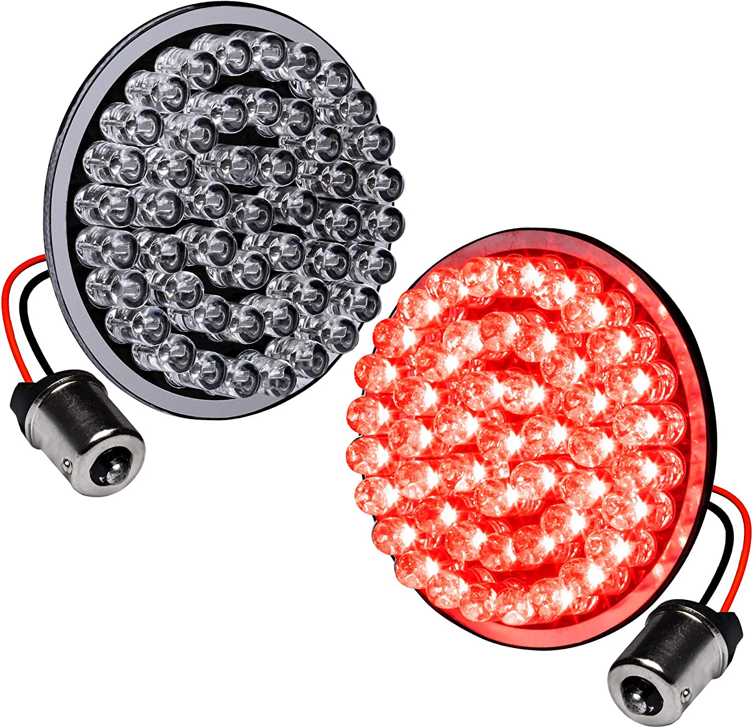 """2"""" 1156 Red Harley Rear LED Turn Signal Tail Light [Pair Set] [Black-Finish] [Bullet Style] Turn Signals For Harley Davidson Sportster Street Glide Road King Softail Electra Heritage Dyna Fatboy"""