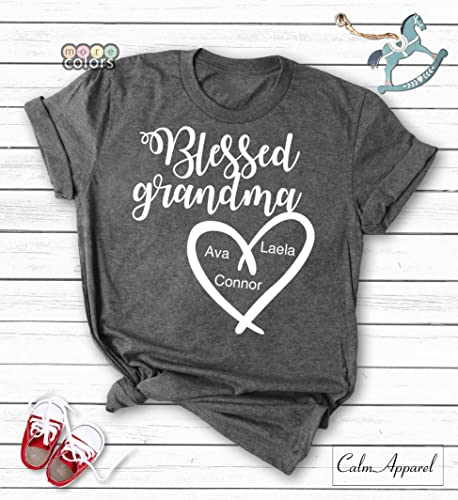 0887ad1a Amazon.com: Blessed Grandma Shirt, Personalized Grandma Gift from Grand  Kids, Custom Tee for Grandmother, Women Graphic Tops Tee: Handmade