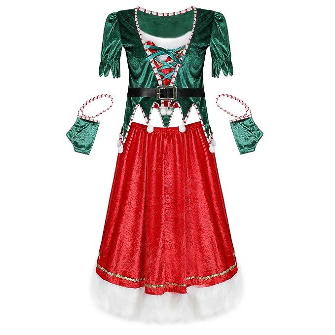 YaYang Disfraz de Elfo para Mujer Papá Noel Disfraz Verde Disfraz ...