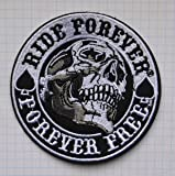 Parche Ride Forever Forever Free Skull Embroidered Cloth Iron on Patch
