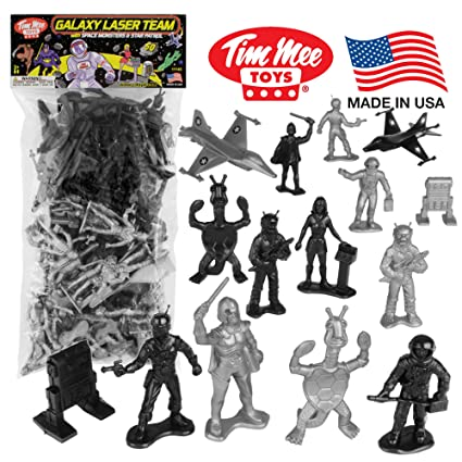 Amazon Com Timmee Galaxy Laser Team Space Figures Black Vs Silver