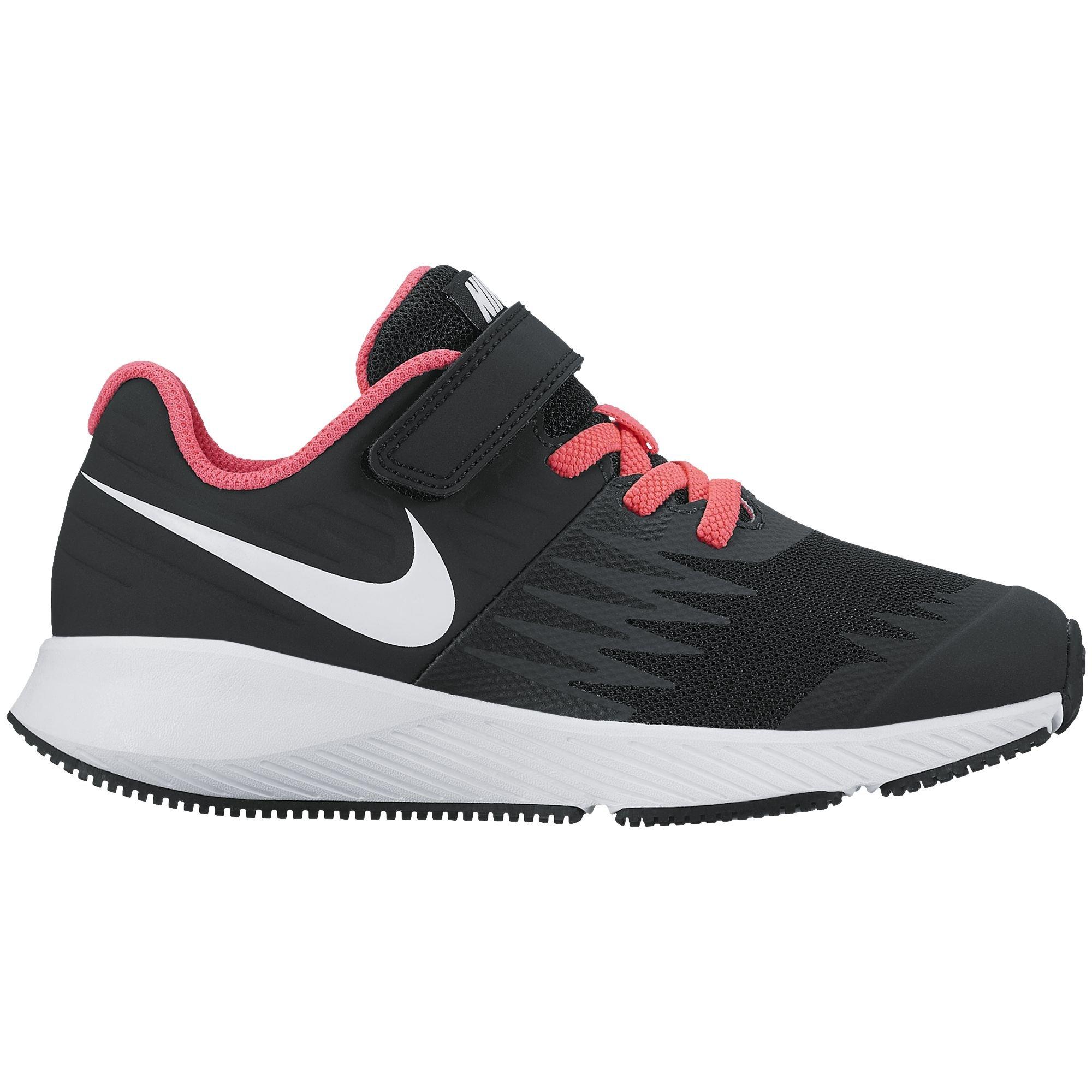 Nike Girl's Star Runner (PSV) Pre-School Shoe Black/White/Volt/Racer Pink Size 1 M US by Nike (Image #1)