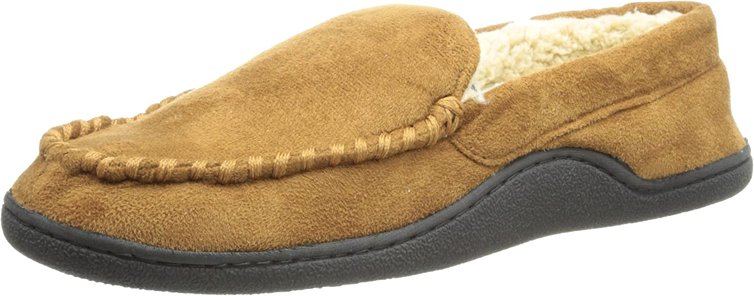 Large 9.5-10.5 Isotoner Mens Sherpa Black Lined Moccasin Slippers Shoes