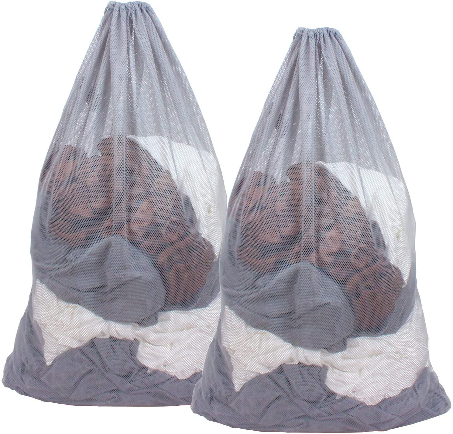 DuomiW Mesh Laundry Bag Heavy Duty Drawstring Bag, Factories, College, Dorm, Travel and Apartment Dwellers, 24 x 36 Inches 2 Pack, Grey