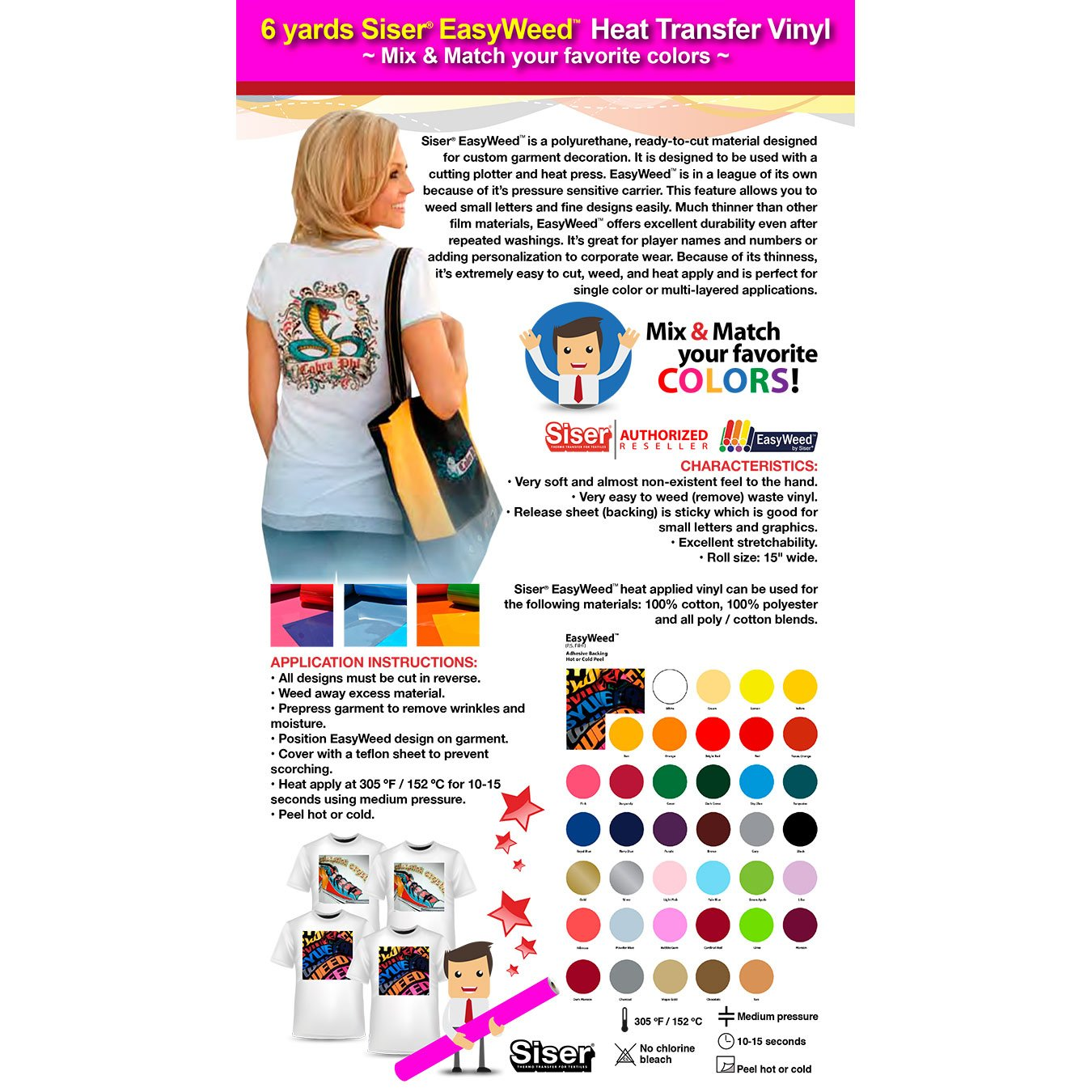 Siser Easyweed - GERCUTTER Store - 6 Yards SISER EASYWEED Heat Transfer  Vinyl (Mix & Match your favorite colors)
