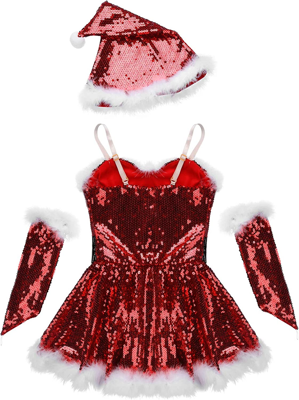 YiZYiF Disfraz Mamá Noel Niñas Vestido Danza Lentejuelas 3Pcs ...