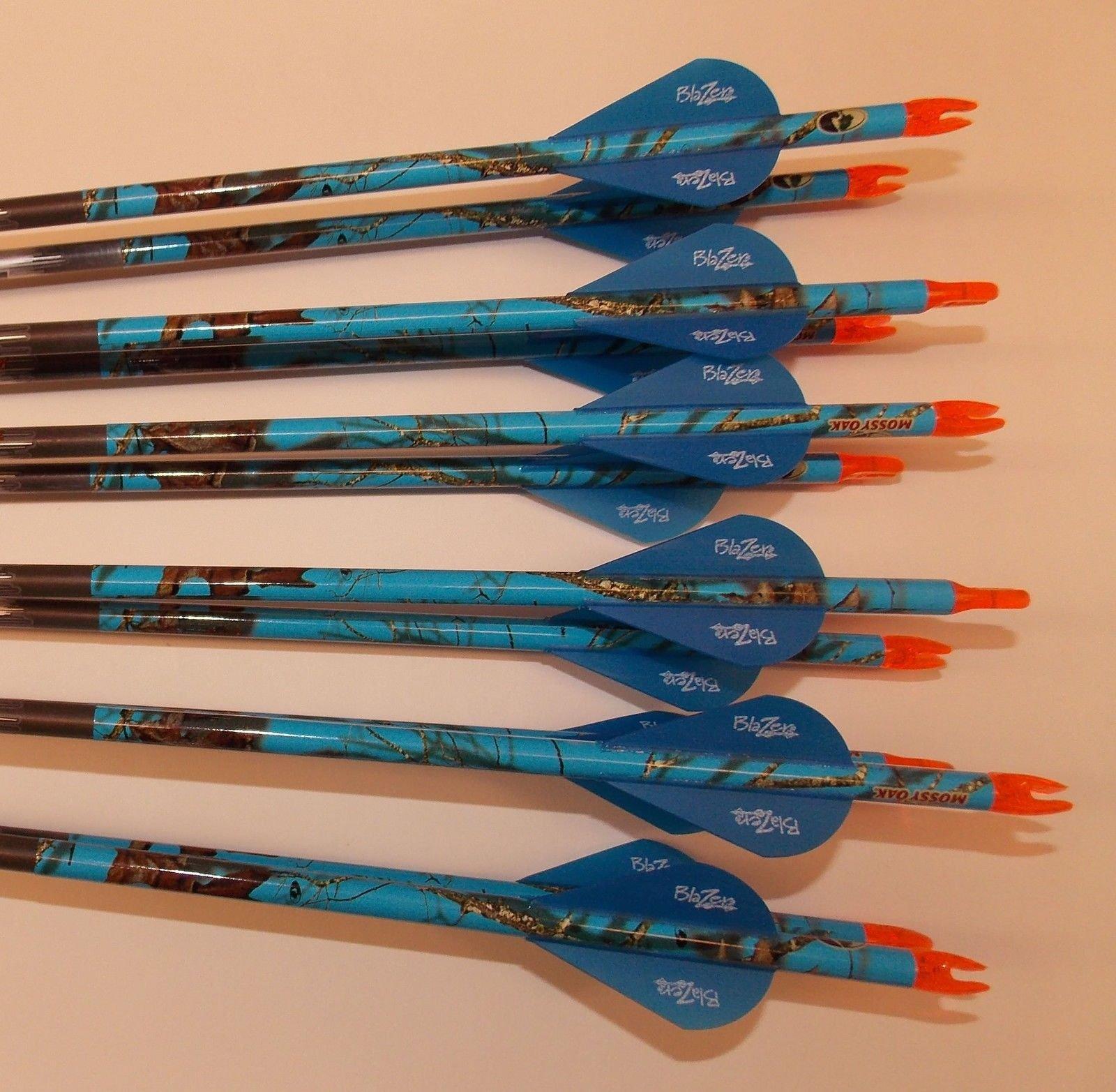 Easton ION 600 Blue Carbon Arrows w/Blazer Vanes Blaze Wraps 1 Dz.