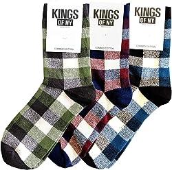 19710ab4149 Marl Plaid Pattern Mens Cotton Socks 3 PACK