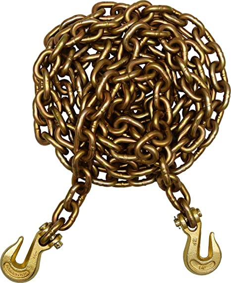 """Tow Chain 3//8/"""" 21ft G70 Heavy Duty with Safety Grab Hooks"""
