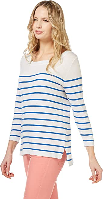 WoolOvers Womens Silk and Cotton Breton Stripe Boat Neck Sweater
