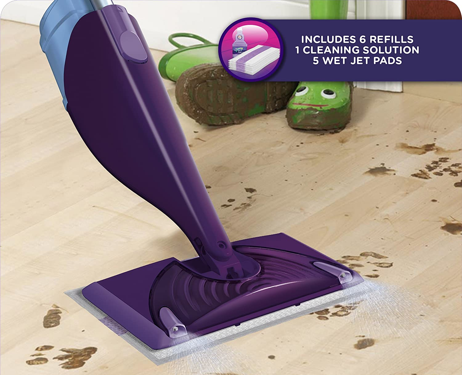 Swiffer wetjet wood floor cleaner - Amazon Com Swiffer Wetjet Hardwood And Floor Spray Mop Cleaner Starter Kit Includes 1 Power Mop 5 Pads Cleaner Solution Batteries Health Personal