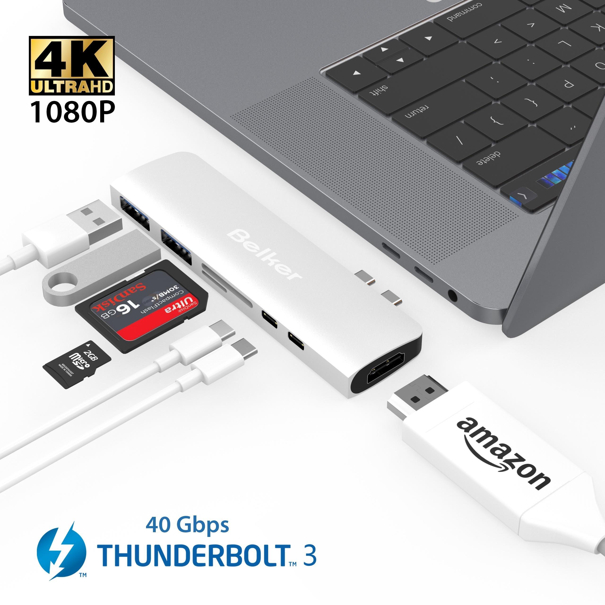 USB C Thunderbolt 3 HDMI Hub MacBook Pro,Belker 7 in 1 40Gb/s Thunderbolt 3 USB-C HDMI Hub Adapter HDMI,2 x USB 3.0, microSD, SD, Thunderbolt 3,USB-C(Sliver)