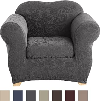 Sure Fit Stretch Jacquard Damask 2 Piece   Chair Slipcover   Gray (SF41464)