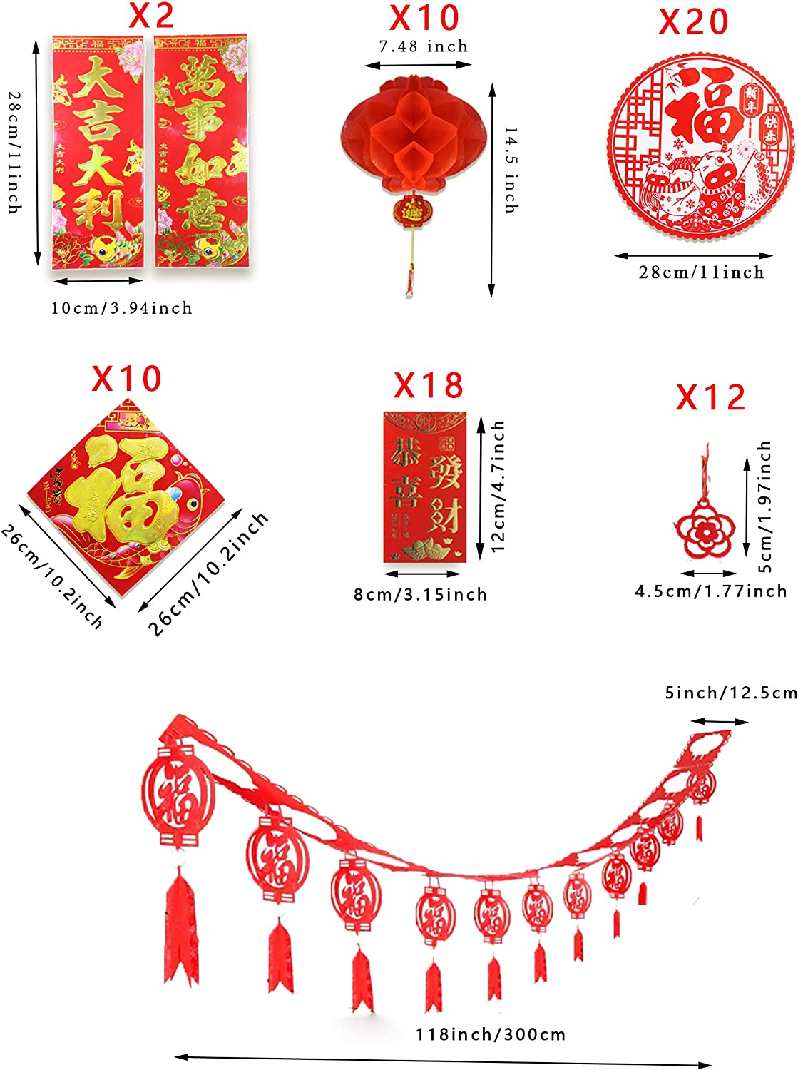 Fu Sticker Red Envelopes including Chinese Couplet Red Lantern Fu Character Hanging Garland Felt Hanging Ornaments for 2021 Spring Festival Party Decor 75 Pieces Chinese New Year Decoration Set