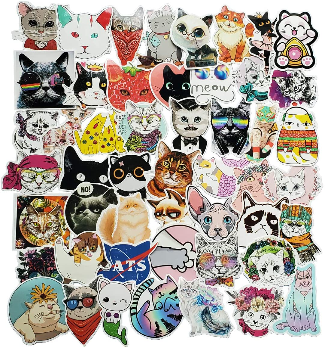 Acekar Cat Stickers,Animal | 50 PCS | Vinyl Waterproof Stickers for Laptop,Skateboard,Water Bottles,Computer,Phone, Cute Anime Stickers(cat-50)
