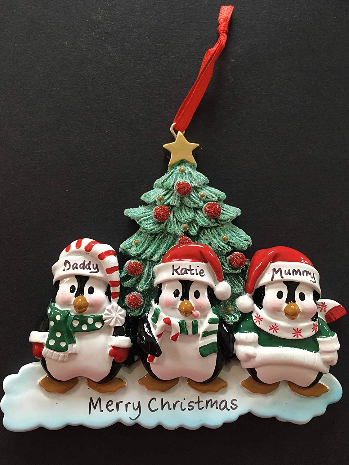 CalEli Gifts Personalised Family Christmas Xmas Tree Bauble Decoration Ornament Winter Penguin Family of 3