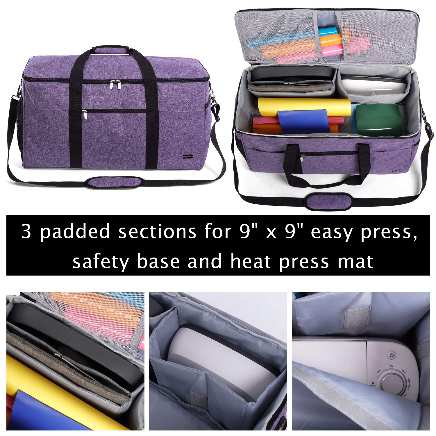 Luxja All-in One Bag for Cricut Die-Cut Machine and Cricut Easy Press (9 x 9 inches), Carrying Case for Cricut Machine and Supplies, Compatible with Cricut Explore Air and Maker (Patent Pending), Purple