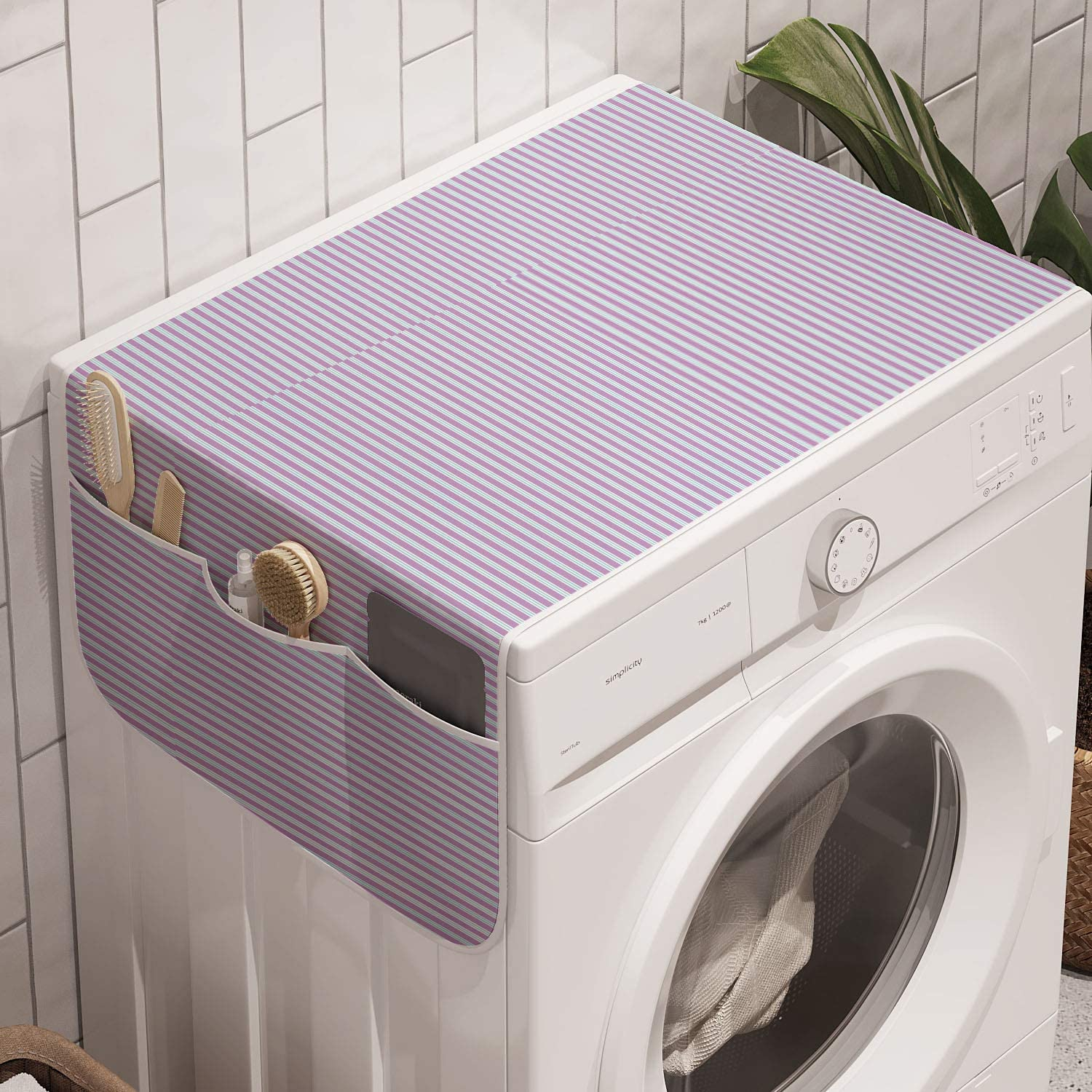 Ambesonne Pinstripe Washing Machine Organizer Wide Candy Stripes With Pastel Blue Doubled Lines In Harmony Anti Slip Fabric Cover For Washers And Dryers 47 X 18 5 Baby Blue Lavender Kitchen Dining