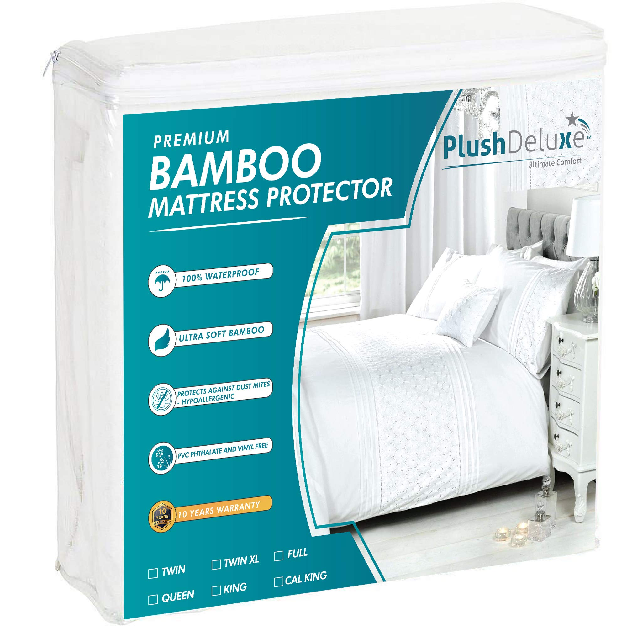 PlushDeluxe Premium Bamboo Mattress Protector - Waterproof, Hypoallergenic & Breathable Bed Mattress Cover for Maximum Comfort & Protection - PVC, Phthalate & Vinyl-Free (Queen Size)